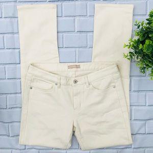 Straight Leg Mid Rise Pants Size 8-10 Cotton Cream